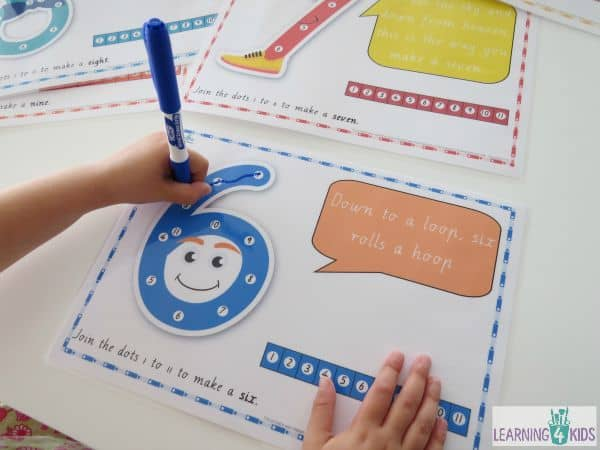 Dot-to-dot number rhyme charts for printing - a fun way to learn how to write numbers
