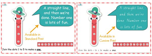 Dot-to-dot number rhyme charts in two fonts, standard and cursive print