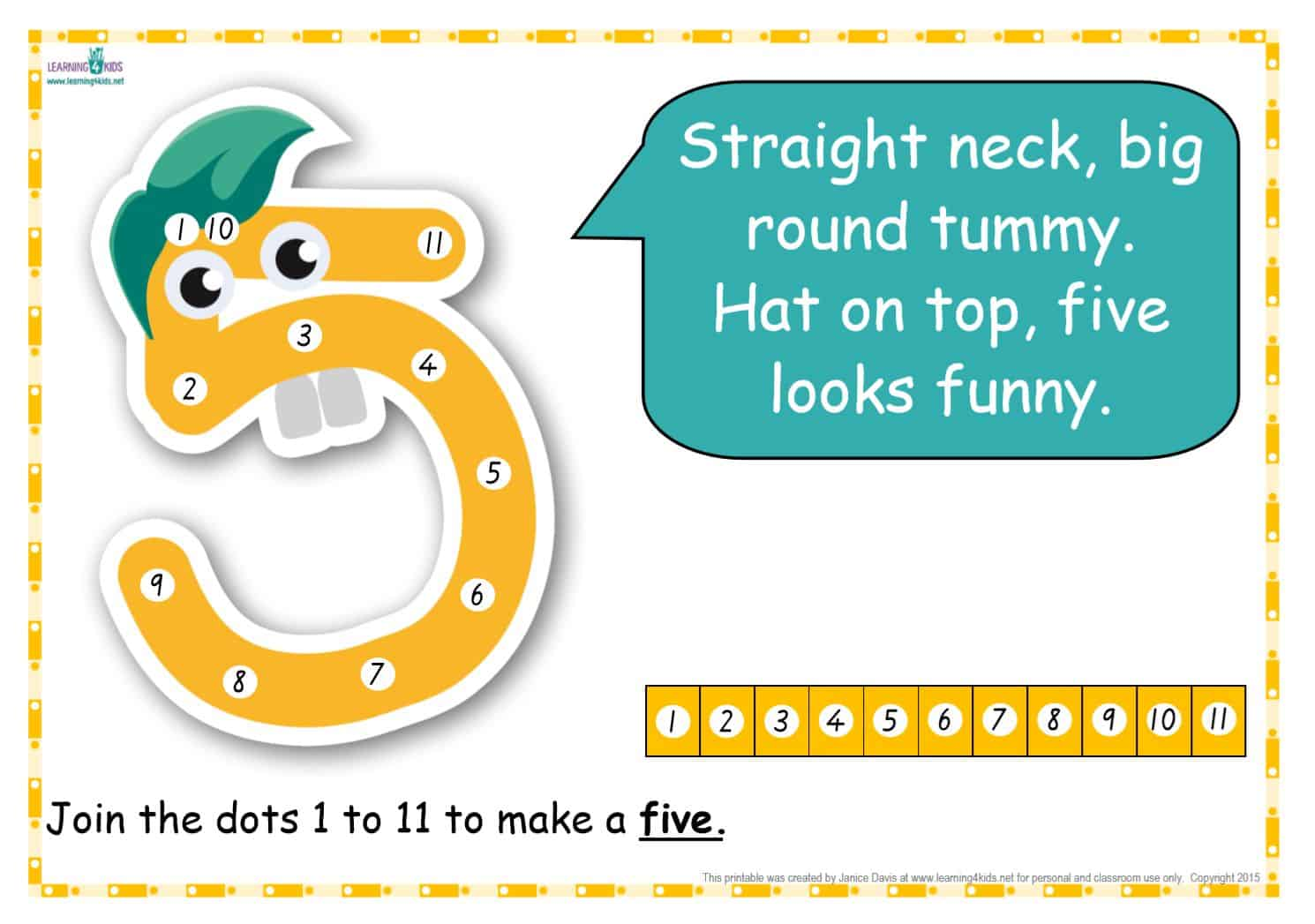 Dot-to-Dot Number Rhyme Charts (Standard Print) | Learning 4 Kids