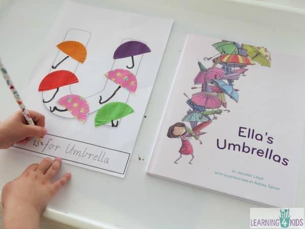 Ella's Umbrellas - letter U activity with printable letter U