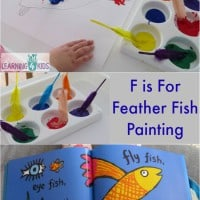 F is for feather fish painting - letter F activity inspired by the story Hooray for Fish by Lucy Cousins
