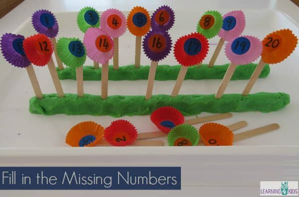 Fill in the missing numbers along the number line.  Fun hands-on counting and number recognition activity