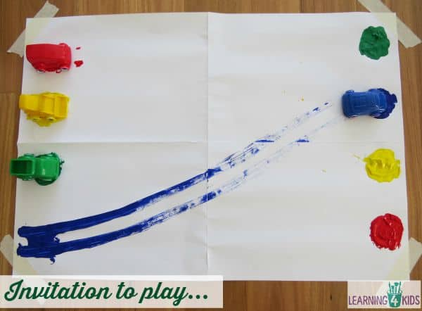 Invitation to play with colours - matching coloured paint with toy cars