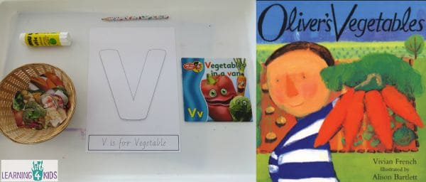 Letter V Activity - V is for Vegetable and the story Oliver's Vegetables by Vivian French