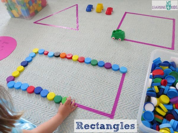 Making rectangles with bottle tops - super simple and fun shape activities for kids