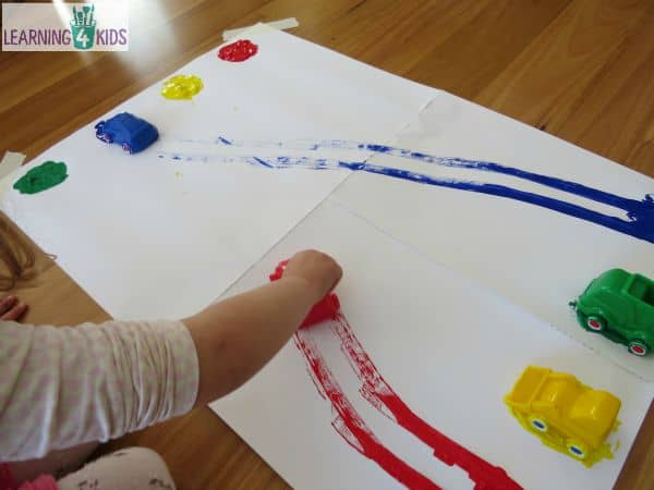 Matching colours with paint and toy cars - super simple fun!