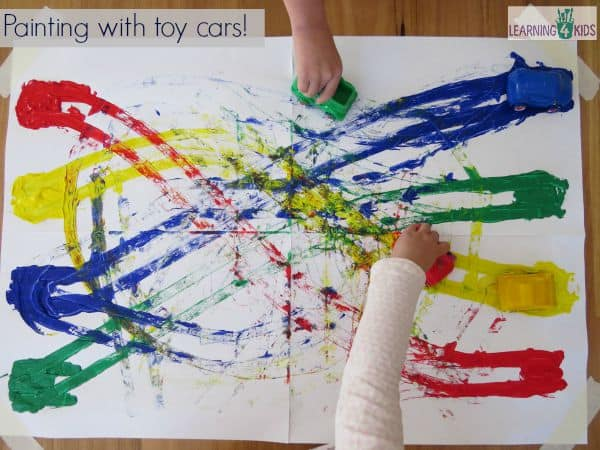 painting with toy cars and learning colours - Colour Painting For Kids