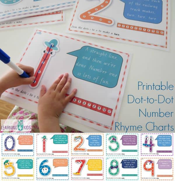 Printable Dot-to-Dot Number Rhyme Charts - can be used as a chart or dry erase. Sing the number rhymes to guide you through what strokes to make with the marker pen to form the correct number shape