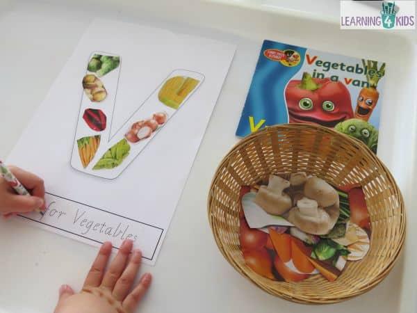 Printable letter V for vegetable collage