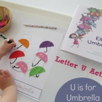 U is for Umbrella - Letter U Book inspired activity from Ella's Umbrellas by Jennifer Lloyd