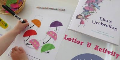 U is for Umbrella - Letter U Book inspired activity from Ella's Umbrellas by Jennifer Lloyd