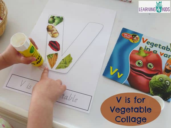 V is for Vegetable Collage - Letter V Activity with Free Printable
