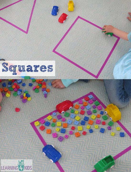 learning about squares through hands-on activities