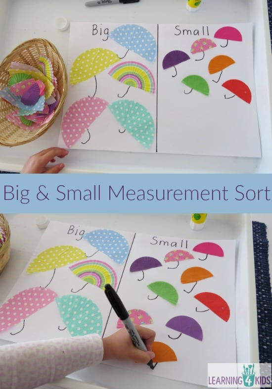 Big and Small Measurement Sort - making umbrellas with cupcake cases