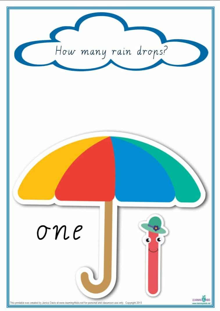 counting raindrops printable maths games and activities cursive