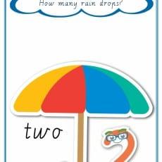 Counting Raindrops Cursive print number 2