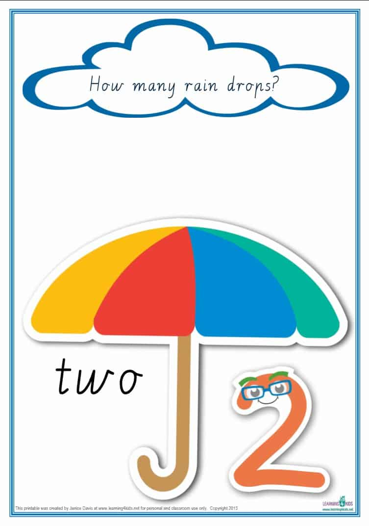 Counting-Raindrops-Cursive-print-number-2 Counting Worksheets Printable on kindergarten math, preschool ladybug, 1st grade,