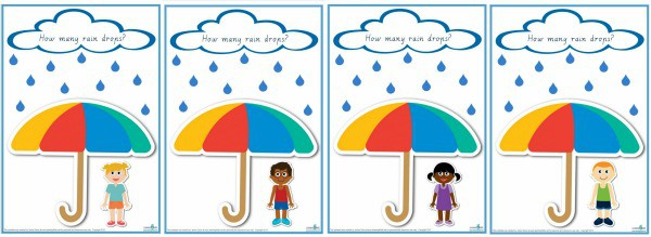 Counting Raindrops cursive print counting numbers 1-10 game boards