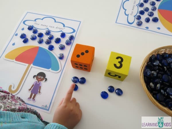 Counting Raindrops printable game boards.