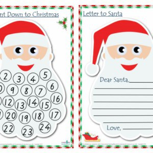 Dear Santa letter template and count down to christmas adven calender