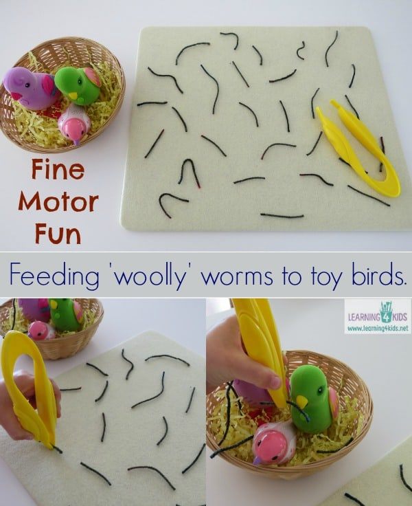 Fine motor activity for kids - pretnd feeding 'woolly' (yarn) worms to toy birds.