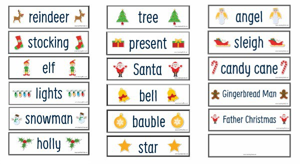 Flash cards christmas words