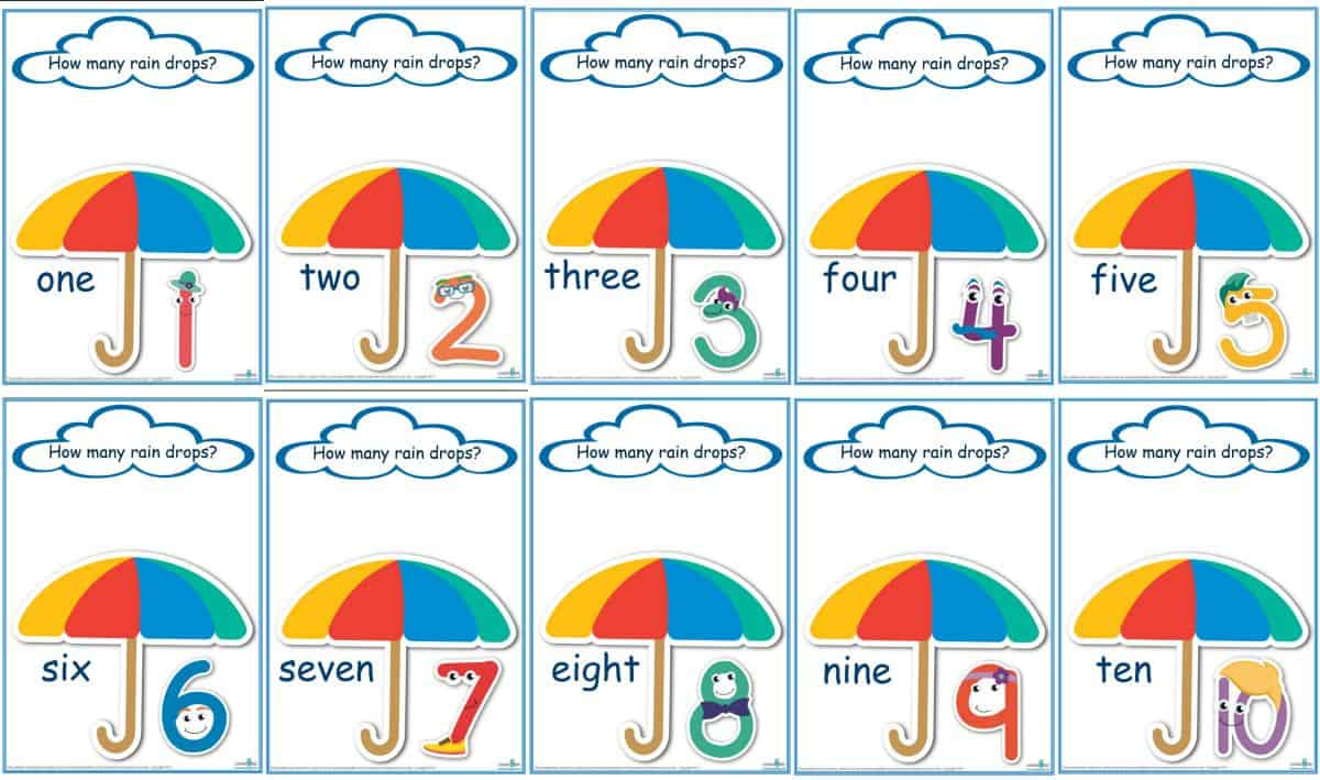 Counting Raindrops Game Template and Play Dough Mats.STANDARD PRINT