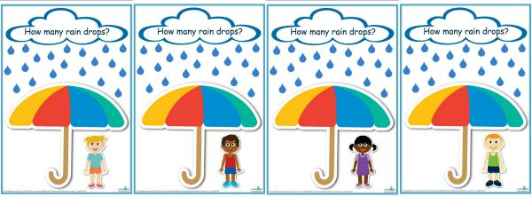 How many raindrops  game template counting and learning numbers 1 -20 (600)