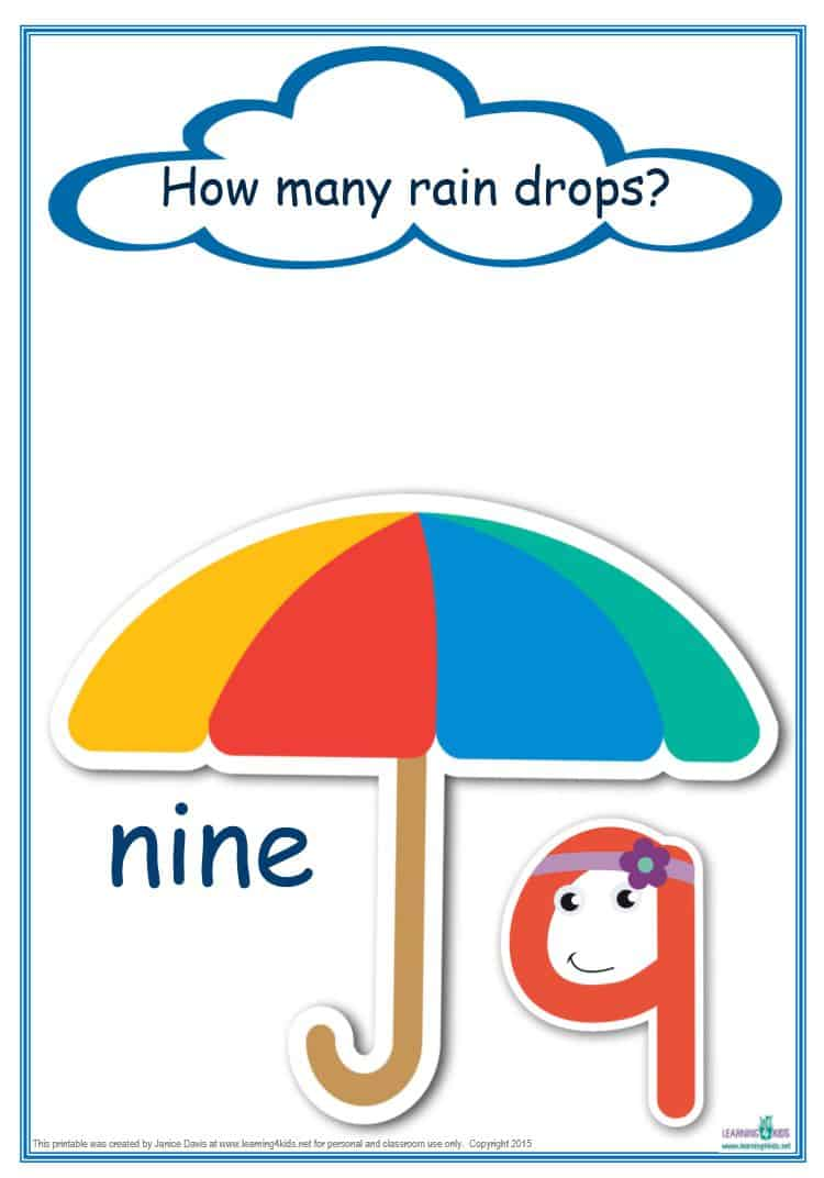 counting raindrops printable maths games and activities standard