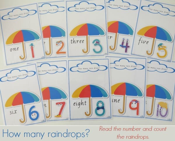 How many raindrops printable Read the umber and count the raindrop.  Use this printable with play dough or gem stones.