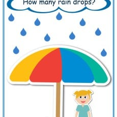 How many raindrops template for counting and subitising game 1-10