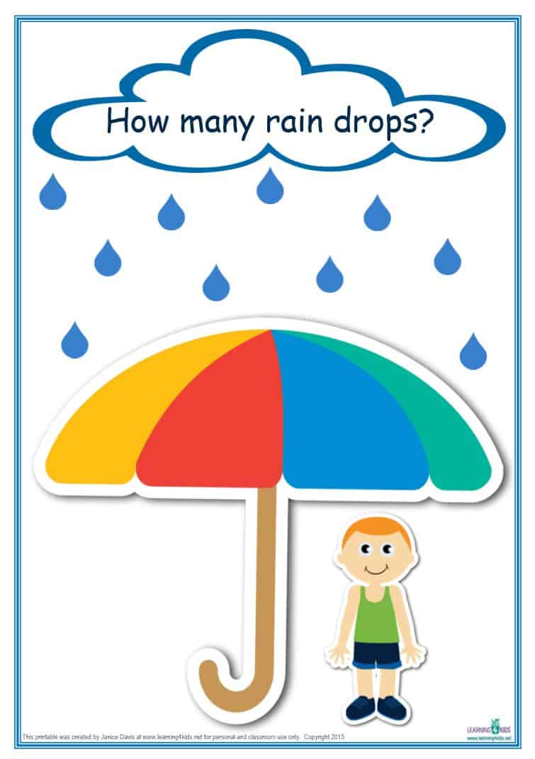 Counting Raindrops Printable Maths Games and Activities (Standard ...
