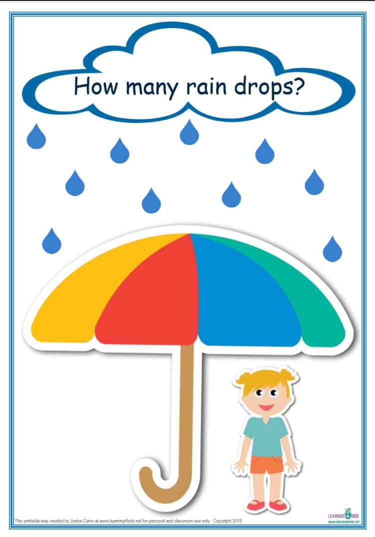 picture relating to Printable Classroom Math Games identified as Counting Raindrops Printable Maths Online games and Things to do (Common Print)
