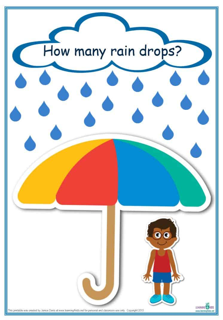 counting raindrops printable maths games and activities  standard print