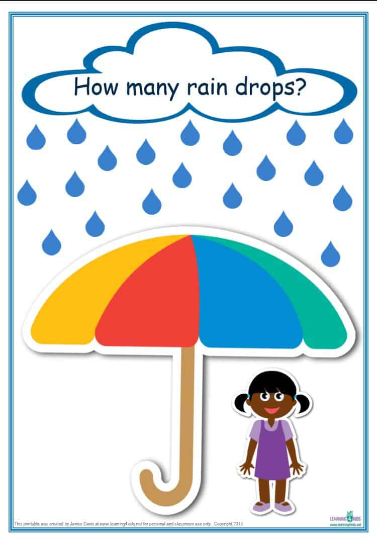 counting raindrops printable maths games and activities standard how many raindrops template for counting and subitising game 1 20 c