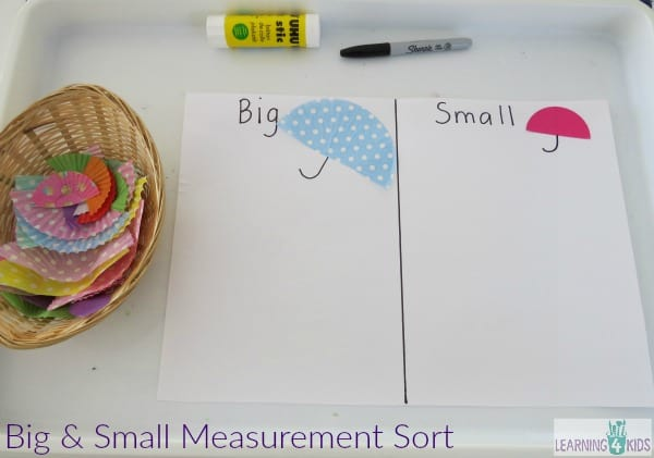 Invitation to play - big and small measurement sort activity