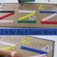 Letter Z Activity, Homemade Educational Toy - Z is for Zip it Zipper Board.