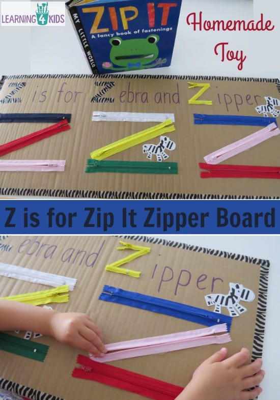 Z Is For Zip It Zipper Board Learning 4 Kids
