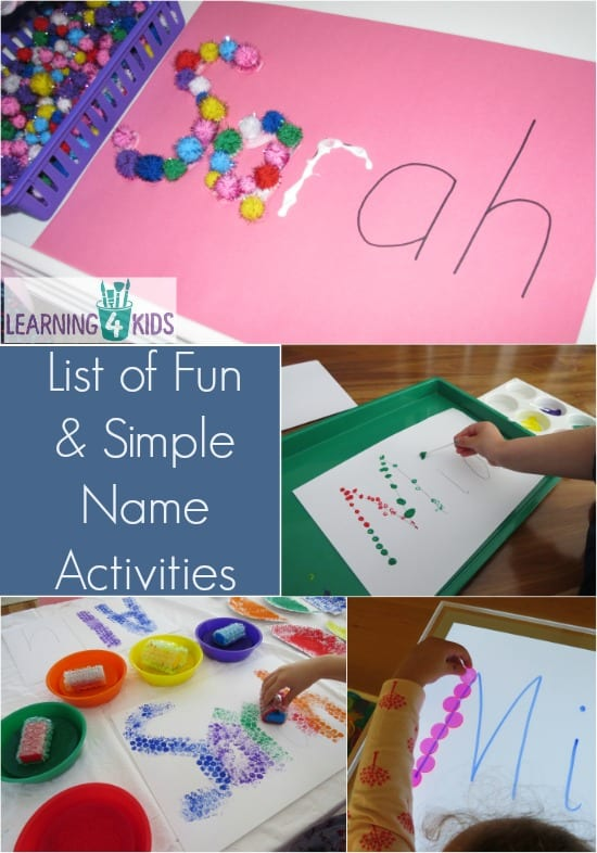 List of Simple and Fun Name Activities | Learning 4 Kids