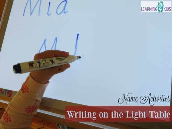 List of lots of fun name activities 3. writing on the light table
