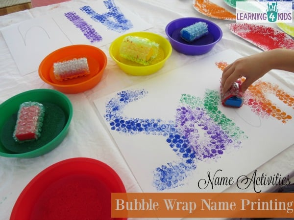 List of name activities - bubble wrap name printing with paint and bubble wrap