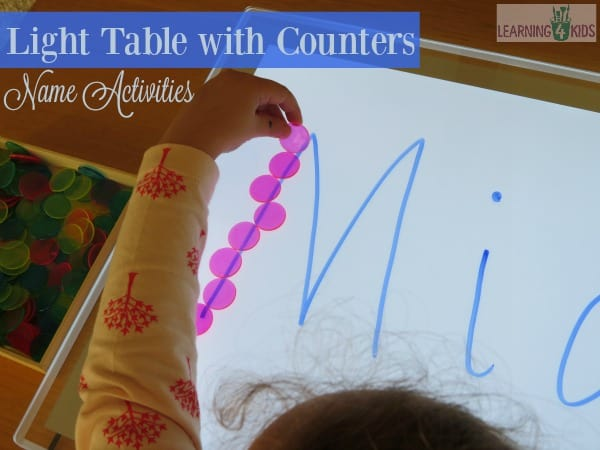 List of super fun name activities - 2. light table with counters