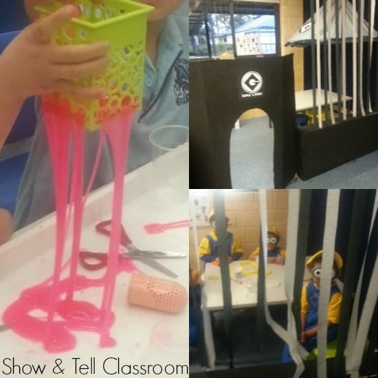 Minion Mayhem, pretend play, home corner. Our students were minion mad so Gru's Science Lab appeared - mix potions and slimes to explore viscosity, matter and expand our scientific vocabulary