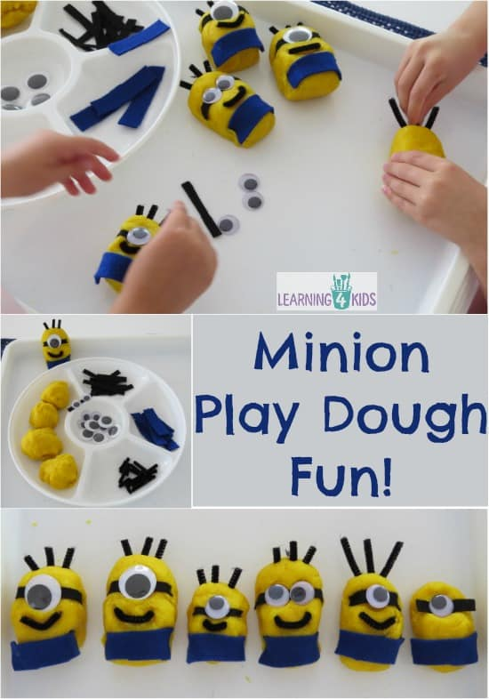 Minion Play Dough - lots of ideas play creativly and learning opportunities