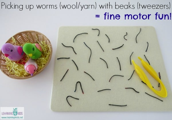 Picking up worms (woolyarn) with beaks (tweezers) = fine motor fun!