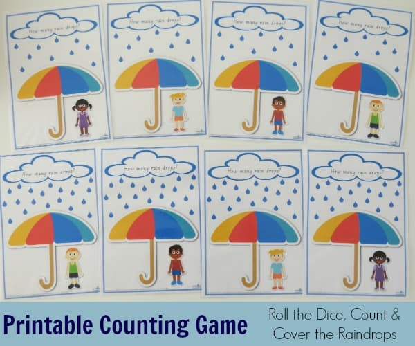 Printable Counting Game - roll the dice, count and cover the raindrops