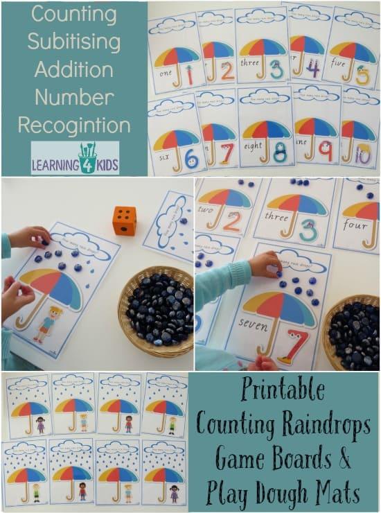 Printable Counting Raindrops Game Boards & Play Dough Mats