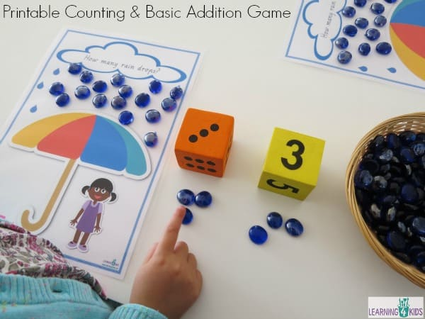Printable Counting and Basic Addition Game number 1 -20