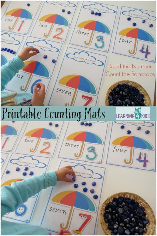 Printable Counting mats - read the number and count the raindrops