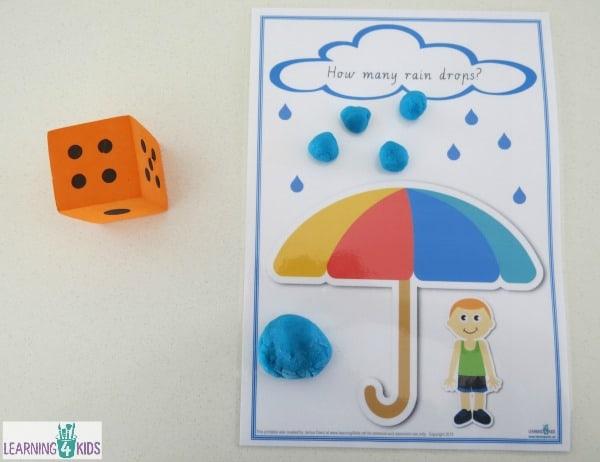 Printable Counting Raindrops Game And Play Dough Mats on Subitising Printable Dice Game